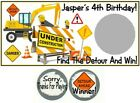10 Construction Trucks Birthday Party Baby Shower Favor Scratch Off Game Cards