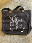 Thirty One Wander Tote Follow Your Own Path charcoal gray heavy canvas bag