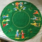 Bucilla Christmas Nativity Felt Tree Skirt VINTAGE 82623 RARE Green Felt 42