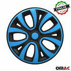 Hubcaps 14 Inch Wheel Rim Cover for BMW Glossy Black with Blue Insert 4pcs Set