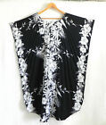 Vtg Royal Creations Aloha Caftan Black/White Floral Curved Hem One Size Fits All