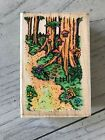 RUBBER STAMPEDE WOOD STAMP SHADY HOLLOW M032 TREES HOUSE WOODS