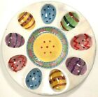 Deviled Egg Plate Tray Easter Spring Ceramic Colorful Well in Center 10