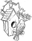 Unmounted Rubber Stamp Nature Stamps Bird Bird House Berry Birdhouse Birds