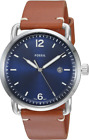 NWT Fossil Commuter Blue Dial Brown Leather Men's Watch FS5325 MSRP $95