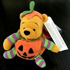 Disney Store HALLOWEEN POOH in a Pumpkin Suit with Smiling Face Pooh Beanie 2000
