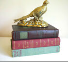 Vintage Antique Decorative Book Stack Burgundy Green Muted Classic Set of 3 Fall