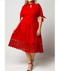 Plus Size Vintage Style Lady in Red Dress w Lace Hem 1X 2X 3X Holiday Christmas