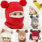 Toddler Kids Baby Boy Girl Hooded scarf Caps Hat Winter Warm Knit Flap Scarf USA