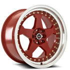 4 Spec 1 SPT 21 17x9 4x100 4x45 +25mm Red Wheels Rims