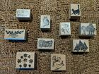 Collection of Ten Vintage Wooden Rubber Stamps