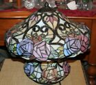 Colorful Slag Glass Table Lamp Flowers Floral Design Lamp