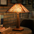Tiffany Style Mission 2 Light Table Lamp with 16 Stained Glass Lampshade Home