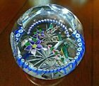 1984 William Manson Caithness Glass BLUEBIRDS Lampwork Paperweight Faceted 214