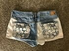 Vintage American Eagle Outfitters Lace Denim Ombre Shortie Jean Shorts 30 Waist