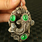 chinese Tibet silver inlay jadeite propitious fish luck statue pendant gift