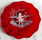 FENTON ART GLASS 1995 RUBY RED MARY GREGORY STYLE PLATE D FREDRICK