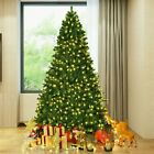 6FT Green Pre Lit Artificial Christmas Tree Hinged With 200LED Lights W Stand