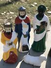 Vintage Blow Mold Outdoor Light Up Nativity Set 8 Pc Tallest Piece Is 24