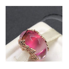 NEW PANDORA Rose 14k Gold Pink Murano Glass  Leaves Charm Pendant 788244