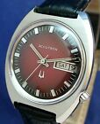 Bulova Accutron 218 day/date vntg 1972 RARE red/blk dial ss watch with new strap