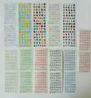 Mrs Grossman ALPHABET  NUMBERS Sticker Strips of Different Colors You Choose