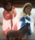 Outdoor Christmas Nativity Blow Mold Mary Joseph Donkey Working Lights Vintage