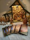 VINTAGE FONTANINI LIGHTED STABLE NATIVITY SET 12 PIECE LOT HEIRLOOM ORIGINAL BOX