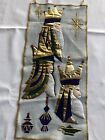 Vintage Hand Made Sequin 3 Wise Men Nativity Wall Hanging Decoration Christmas