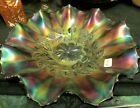 GORGEOUS DEEP COBALY BLUE FENTON COSMOS VARIENT RUFFLED 10 INCH BOWL