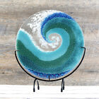 Fused Glass Art Ocean Wave Panel with Stand  Beach Decor Gift Ideas