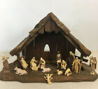 Vtg Christmas Nativity Wooden Manger 15 Plastic Figures Creche Stable Italy 16