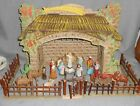RARE SET Antique GERMANY NATIVITY 27 pc Paper Mache GREAT FOLDING MANGER