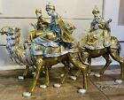 Wise Men Christmas Nativity Statues 3 Kings with Gifts On Camels 12 Tall