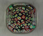Art Glass Small Paperweight Multi Sided With Tight Packed Millefiori