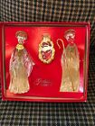 Gorham Crystal  Gold Nativity Set Mary Joseph Jesus Figurines New In Box