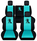 Frontrear Car Seat Covers Blk-turquoise Wdeerclaw Fits Jeep Liberty 2008-2012