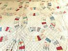 Vintage Double Wedding Ring Hand Made Scalloped Patchwork Quilt
