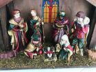 Nativity Manger Scene Wood Christmas Ceramic Figurines and Stained Glass 18x14