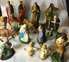 Antique 16pc COMPOSITION Germany XMAS Nativity PAPER Mache VTG Creche 7 Animal