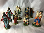 Lot 8 Old VTG Plaster CHALKWARE Nativity FIGURES Italy XMAS Wisemen SHEPHERD