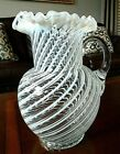 LARGE Antique BEAUMONT Swirl Glass Spiral Optic White Opalescent PITCHER