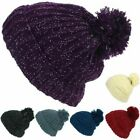 Tinsel Bobble Beanie Hat LoudElephant Pom Warm Winter Knitted Cap