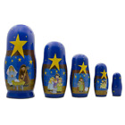 BestPysanky Set of 5 Nativity Scene Set Wooden Nesting Dolls 575 Inches