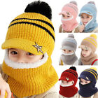 Winter Warm Kids Scarf Boys Girls Knitted Full Face Beanie Hat Earflap Cap Prom