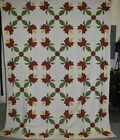 Antique Hand Sewn Quilt Top Red and Green Floral Applique 18672