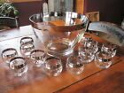 Vtg Dorothy Thorpe Style Silver Rim Punch Bowl with 12 Roly Poly Glasses Mad Men