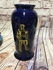 "Rare Fiesta ""monarch"" blue with gold WVU Mountaineer West Virginia vase"