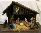 Vintage Nativity Set w Stable Composite Plaster Italy Musical Silent Night