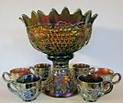 Northwood Amethyst Grape  Cable Carnival Glass Punch Bowl  Cups